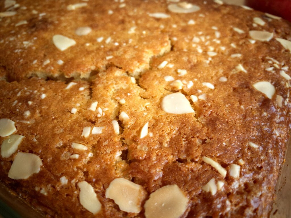 Close up view of the crunchy top of the apple pudding