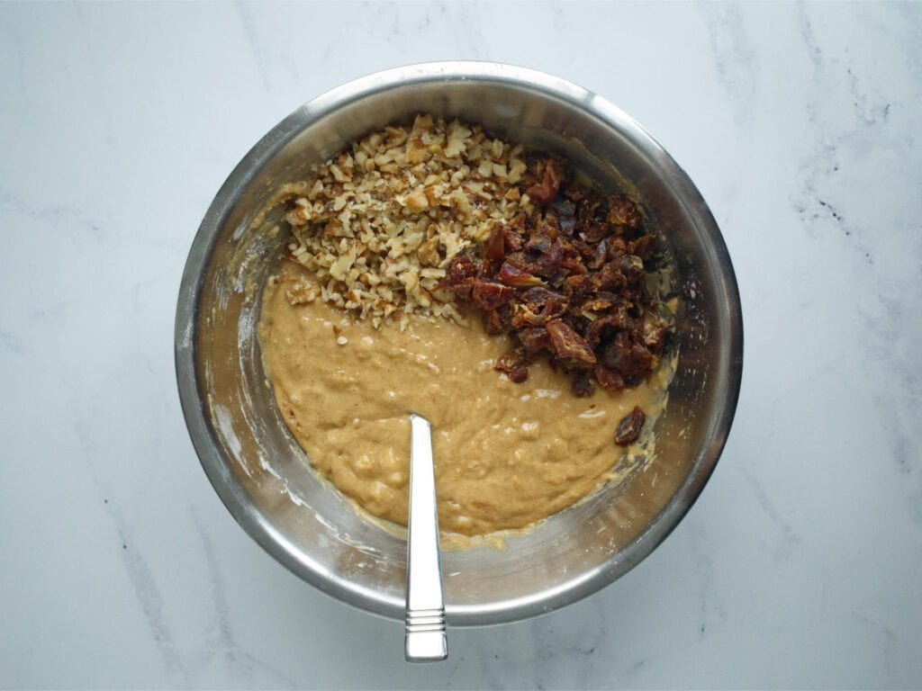 Banana bread mix with dates and walnuts added