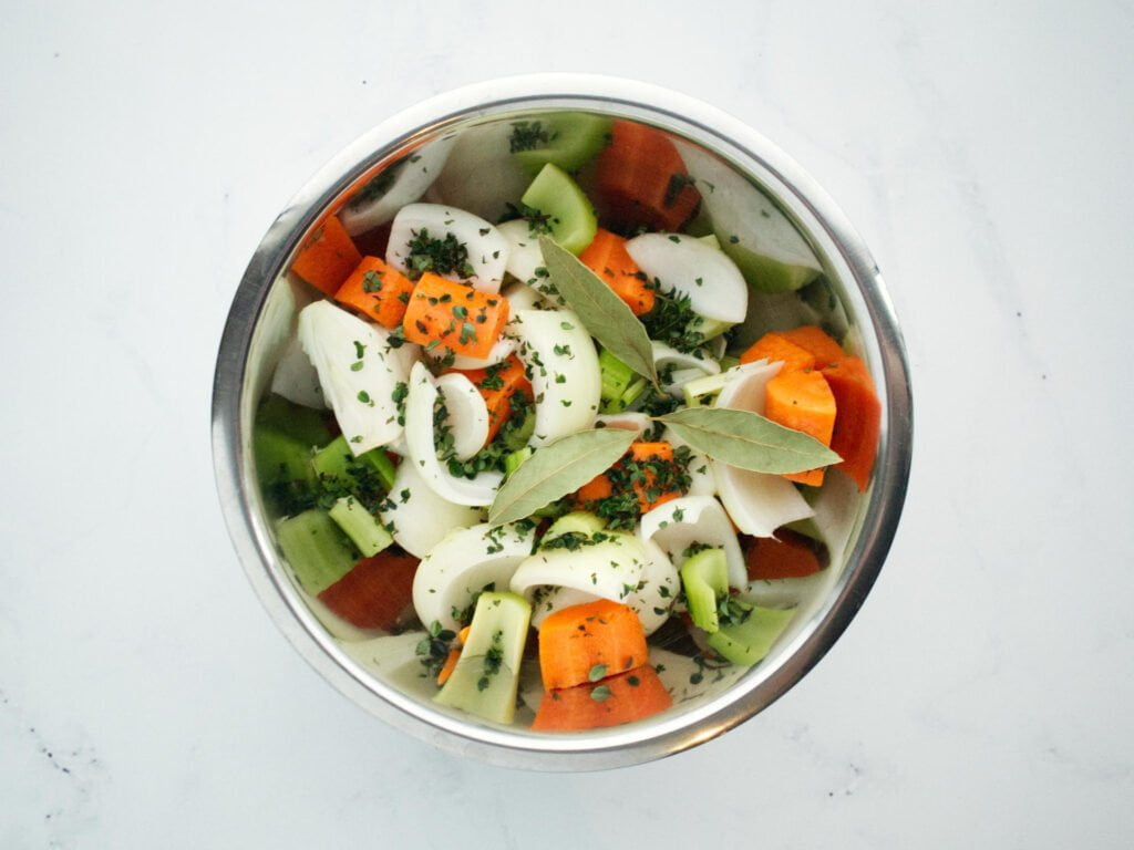 Diced vegetables for Beef Casserole