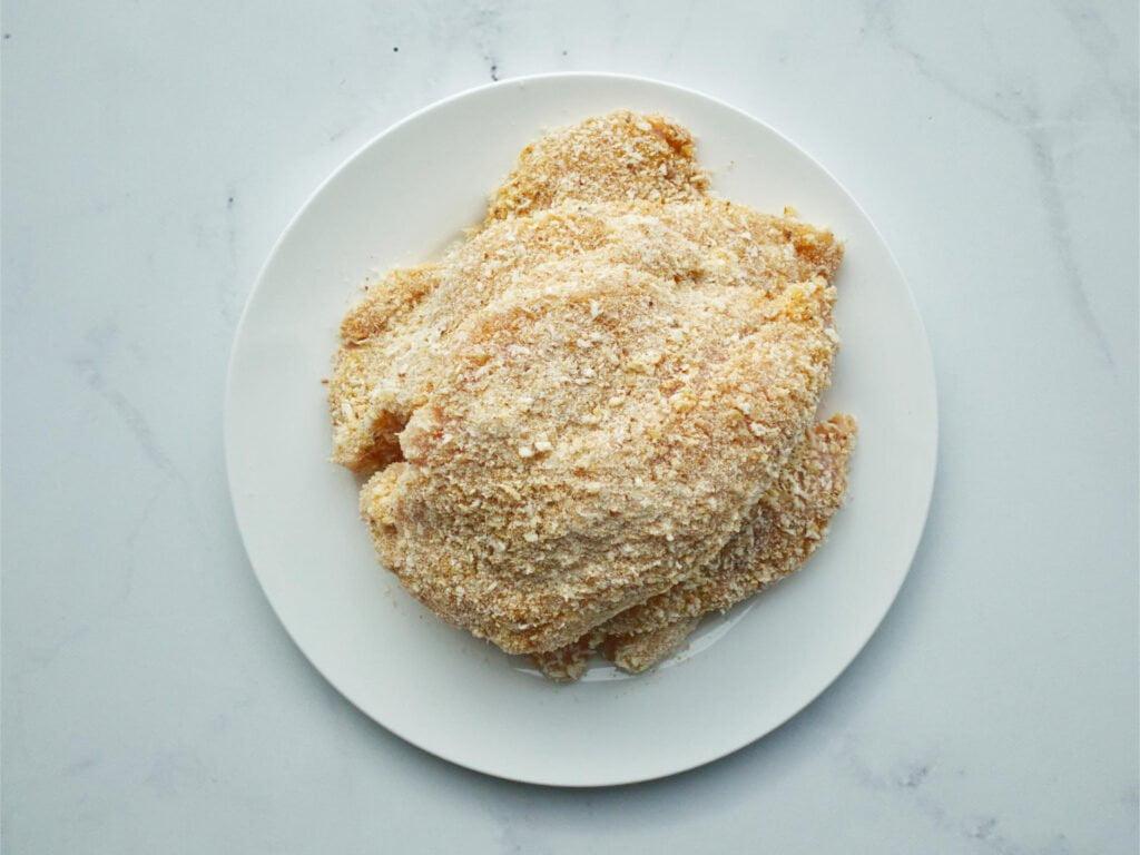 Crumbed chicken schnitzel