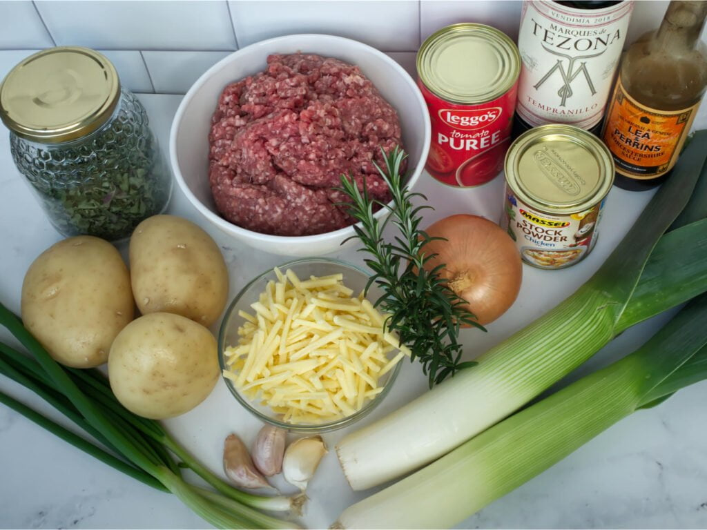 Shepherd's Pie raw ingredients