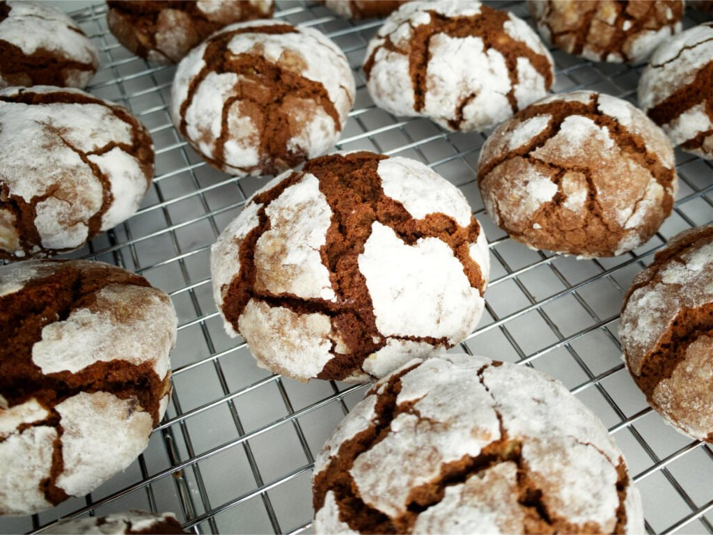 Chocolate Crackle Cookies cooling on wire rack