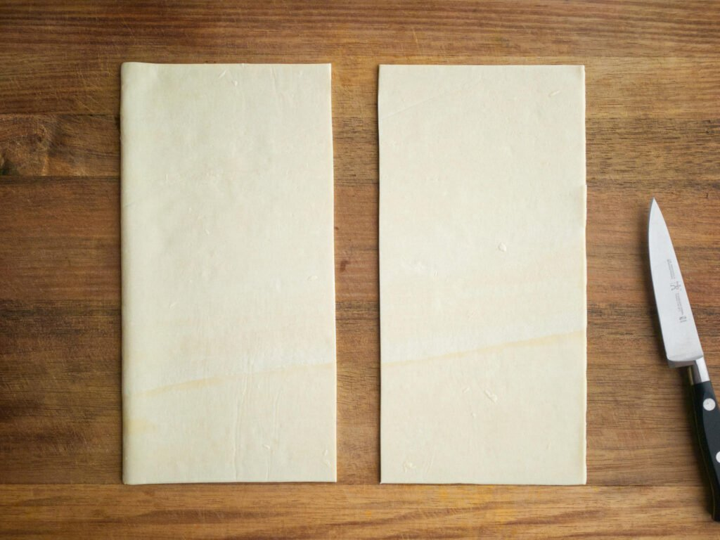 Puff pastry sheet cut into two equal strips